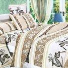 MH01004-2 [Beige Deer Totem] 100% Cotton 4PC Comforter Cover/Duvet Cover Combo (Full Size)