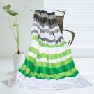 ONITIVA-BLK-018 [Stripes - Summer Rain] Soft Coral Fleece Patchwork Throw Blanket (59 by 78.7 inches