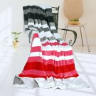 ONITIVA-BLK-021 [Stripes - Fantastic Dreams] Soft Coral Fleece Patchwork Throw Blanket (59 by 78.7 i