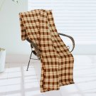 BLK-KRY003 [Trendy Plaids - Brown/Khaki/Black] Soft Coral Fleece Throw Blanket (71 by 79 inches)