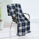 BLK-KRY010 [Trendy Plaids - Blue/White/Yellow] Soft Coral Fleece Throw Blanket (71 by 79 inches)
