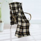 BLK-KRY014 [Trendy Plaids - Black/White/Yellow] Soft Coral Fleece Throw Blanket (71 by 79 inches)