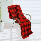 BLK-KRY032 [Trendy Plaids - Black/Red] Soft Coral Fleece Throw Blanket (71 by 79 inches)