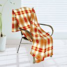 BLK-KRY059 [Trendy Plaids - Khaki/Red/White] Soft Coral Fleece Throw Blanket (71 by 79 inches)