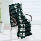 BLK-KRY082 [Trendy Plaids - Green/Black/White] Soft Coral Fleece Throw Blanket (71 by 79 inches)