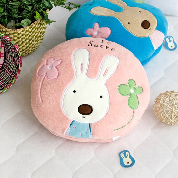HT-CB001-PINK [Sugar Rabbit - Round Pink01] Blanket Pillow Cushion (25.2 by 37 inches)
