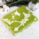 TB-BLK003 [Green Leaves] Japanese Coral Fleece Baby Throw Blanket (26 by 39.8 inches)