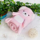 TB-BLK015-PINK [Happy Bear - Pink] Fleece Baby Throw Blanket (42.5 by 59.1 inches)