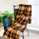 TB-BLK035 [Scotch Plaids - Yellow/Brown] Soft Coral Fleece Throw Blanket (71 by 79 inches)