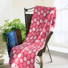 TB-BLK043 [Wave Point - Pink/White] Soft Coral Fleece Throw Blanket (59 by 79 inches)