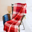 TB-BLK045 [Red/Pink/White Stripes] Soft Coral Fleece Throw Blanket (59 by 71 inches)