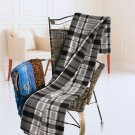 TB-BLK050 [Grey/Black/White Plaids] Soft Coral Fleece Throw Blanket (59 by 71 inches)