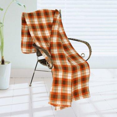 TB-BLK060 [Trendy Plaids - Light Brown/Orange/White] Soft Coral Fleece Throw Blanket (71 by 79 inche
