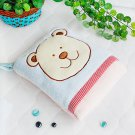 TB-CB002-BLUE [Blue Bear] Fleece Throw Blanket Pillow Cushion (28.3 by 35.1 inches)