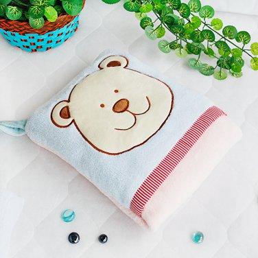 TB-CB002-BLUE [Blue Bear] Fleece Throw Blanket Pillow Cushion (28.3 by 35.1 inches)