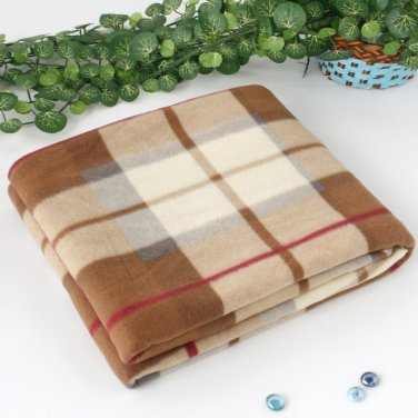 WNZJ-BLK006 Blancho [Scotch Plaids -Brown/White] Soft Coral Fleece Throw Blanket (59 by 74.8 inches)