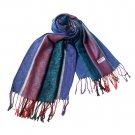 Pa-12-1 Elegant Purple Stripe leaves Paisley Tassel Ends National Style Silky Pashmina