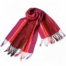 Pa-12-2 Bright Red Stripes Leaves Paisley Tassel Ends National Style Silky Pashmina