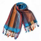 Pa-301-1 Exquisite Stripes Nation Totem Revitalized Style Tassel Ends Silk Pashmina