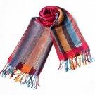 Pa-301-2 Exquisite Stripes Nation Totem Revitalized Style Tassel Ends Silk Pashmina