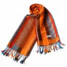 Pa-301-3 Exquisite Stripes Nation Totem Revitalized Style Tassel Ends Silk Pashmina