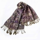 Pa-603-4 Purple Tone Little Blossoms&Checks Design Revitalized Style Tassel Ends Silk Pashmina