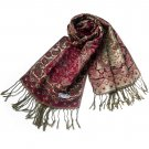 Pa-604-1 Paisley & Flower Mix-pattern Revitalized Style Luxurious Silky Soft Pashmina
