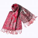 Pa-611-1 Big Paisley Pattern Revitalized Style Silky Soft Tassel Ends Pashmina