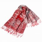 Pa-611-2 Big Paisley Pattern Revitalized Style Silky Soft Tassel Ends Pashmina
