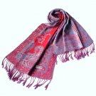 Pa-611-4 Big Paisley Pattern Revitalized Style Silky Soft Tassel Ends Pashmina