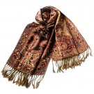 Pa-611-7 Big Paisley Pattern Revitalized Style Silky Soft Tassel Ends Pashmina