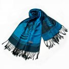Pa-615-1 Blue BaseFlower Patterns Elegant super Soft Woven Tassel Ends Pashmina