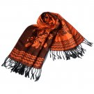 Pa-616-1 Dark Orange Base Peony Flowers Patterns Exquisitely Soft Woven Pashmina