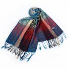 Pa-a09-8 Moon & Stars & Roses Elegant Fashion Smooth Touch Tassel Ends Pashmina