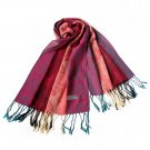 Pa-a28 Colorful Stripes Paisley Stylish Super Soft Tassel Ends Pashmina