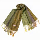 Pa-a54-2 Yellow-Green Special Flowers Pattern Elegant Extra Soft Woven Pashmina