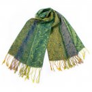 Pa-a54-5 Green Special Flowers Pattern Elegant Extra Soft Woven Pashmina