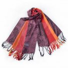 Pa-a82-2 Multi-Colors Rose & Paisley National Style Exquisite Soft Tassel Ends Pashmina