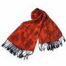 Pa-a86-1 Dark Orange Background Roses Fashion Noble Silky Soft Tassel Ends Pashmina