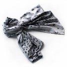 BRA-SCA01003-L Brando Silver Leopard Design Elegant Delicately Soft Silk Scarf(Large)