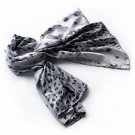 BRA-SCA01003-S Brando Silver Leopard Design Elegant Delicately Soft Silk Scarf(Small)