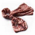 BRA-SCA01007-L Brando Red Funky Zebra Animal Pattern super soft Silk Scarf(Large)
