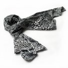 BRA-SCA01009-S Brando Black & White Distinctive Leopard Animal Print Soft Silk Scarf(Small)