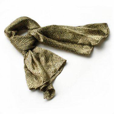 BRA-SCA01022-L Brando Chic Small Leopard Animal Print Soft Natural Silk Scarf(Large)