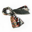 BRA-SCA01040-S Brando Brown Tone Fantastic Multi-Patterns Chic Soft Silky Scarf(Small)
