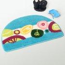 NAOMI-DA7018 [Blue Semicircle] Kids Room Rugs (15.7 by 24.8 inches)