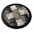ONITIVA-RUG01050-CIR [Zebra-Stripe & Leopard] Patchwork Rugs (35.4 by 35.4 inches)
