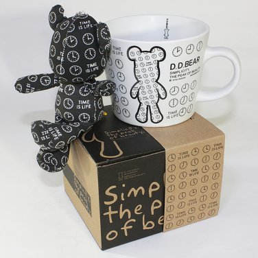 SYNC-GK05 [Black Clock] Stuffed Bear Mug (3.3 inch height)