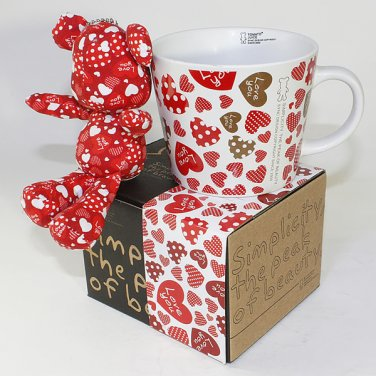 SYNC-GK09 [Heart Red] Stuffed Bear Mug (3.3 inch height)