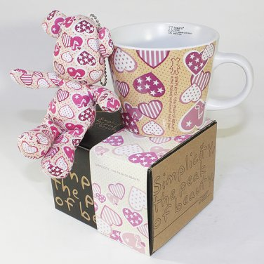 SYNC-GK11 [Heart Pink] Stuffed Bear Mug (3.3 inch height)